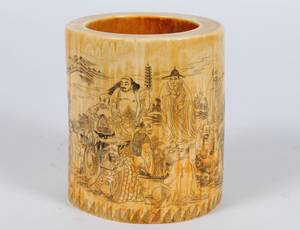 442 ETCHED AND COLORED IVORY BRUSH POT