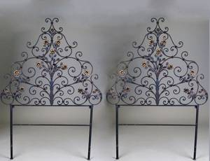 162 PAIR OF BLACK AND GILT WROUGHT IRON HEADBOARDS