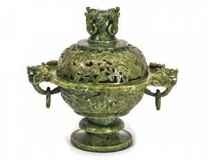 167 CARVED SERPENTINE JADE CENSER AND COVER
