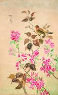 A Japanese Watercolor Depicting a Bird on Flowering Branches