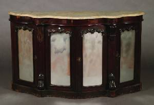 A Victorian Rosewood Marble Top Sideboard
