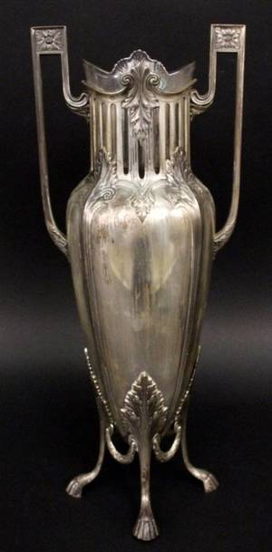 Neoclassical Style Silverplate Vase wGlass Insert