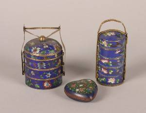 Two Chinese Miniature Cloisonne and GiltMetal Brides Boxes