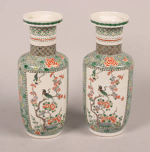 A Pair of Chinese Famille Verte Porcelain Rouleau Vases