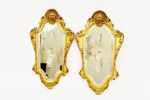 Pair of Italian Gilt Framed Etched Figural Mirrors