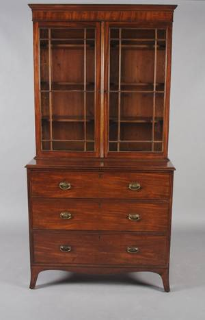 A George III Mahogany Bookcase on Chest