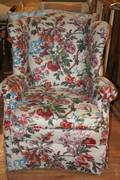 A Floral Upholstered Wingback Armchair