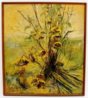 Large Anton Weiss Sunflower Oil Painting