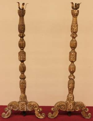 Pair of 18th Century Italian Altersticks Carved Wood