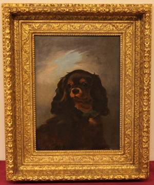 King Charles Spaniel Portrait 19th C oil on canvas 15
