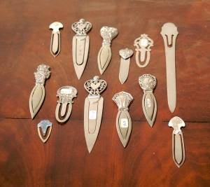 A Group of Six American Sterling Bookmarks Webster