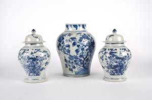 A Pair of Chinese Blue and White Porcelain Baluster Jars and Covers
