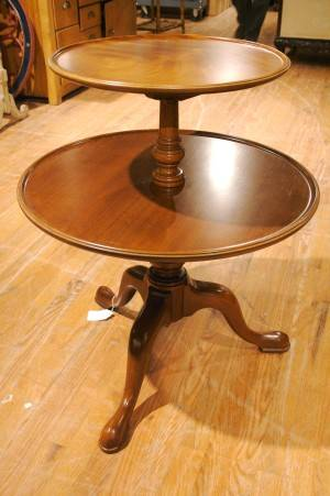 A Georgian Style Two Tiered Mahogany Table Kittinger Old Dominion