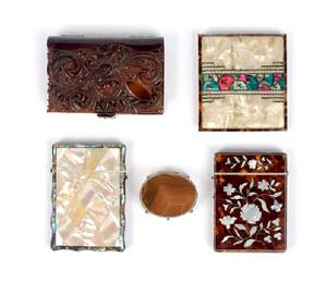 Three Tortoise Shell and Mother of Pearl Cigarette Cases