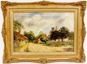 19th C British Countryside Landscape Signed  Dated