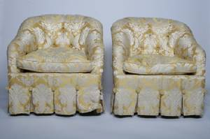 A Pair of Upholstered Bergeres Baker