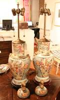 A Pair of Chinese Export Mandarin Palette Baluster Form Porcelain Jars and Covers
