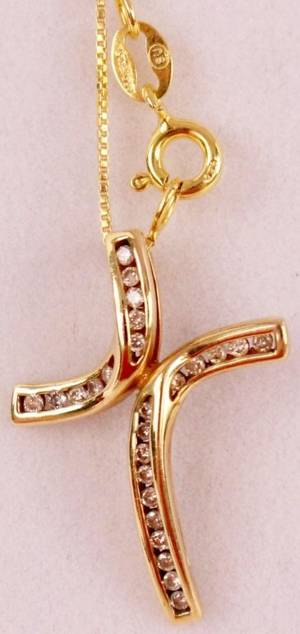 10K Gold and Diamond Cross Pendant