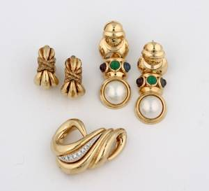 A Pair of Yellow Gold Mabe Pearl and Gemstone Earrings