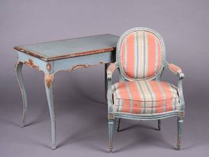 A Louis XV Style Blue Painted and Parcel Gilt Writing Desk