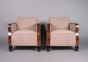 A Pair of Art Deco Rosewood Veneered Club Chairs