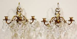 Pair of French 19th C Bronze  Crystal Sconces