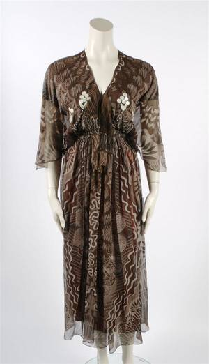 A Zandra Rhodes Brown Silk Dress