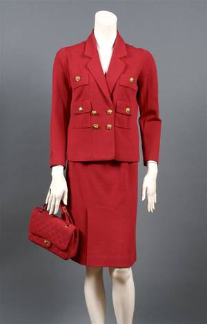 A Chanel Couture Red Wool Skirt Suit with Matching Handbag