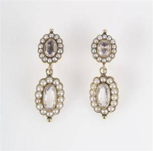 A Pair of 14 Karat Yellow Gold Glass and Seed Pearl Earrings