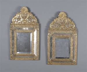 A Pair of Brass Baroque Style Mirrors