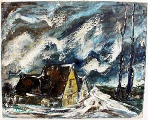Frederick Massa Winter Landscape Oil on Canvas
