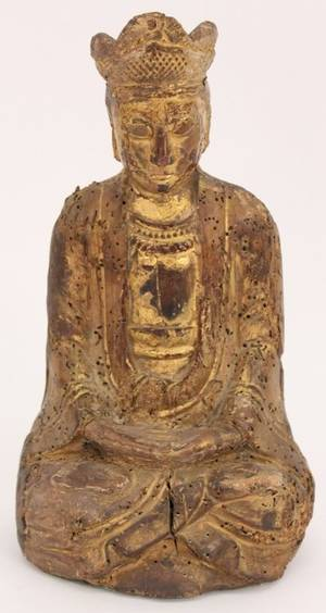 19th C Chinese Carved Giltwood Buddha Sculpture