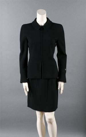 A Chanel Black Wool Skirt Suit