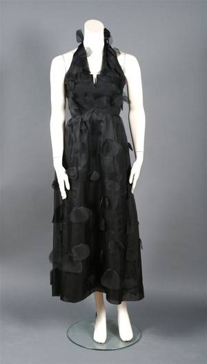 A Givenchy Black Silk Chiffon Halter Evening Gown