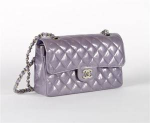 A Chanel Purple Quilted Patent Leather Purse