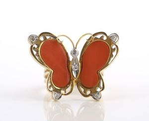 A 14 Karat Yellow Gold Coral and Diamond Butterfly Ring
