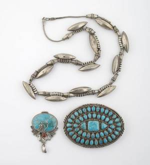 A Group of Sterling Silver and Turquoise Jewelry