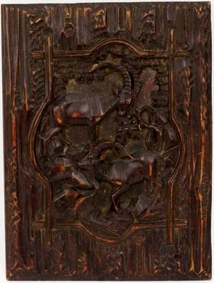 Black Forest Style Hand Carved Animal Motif Plaque