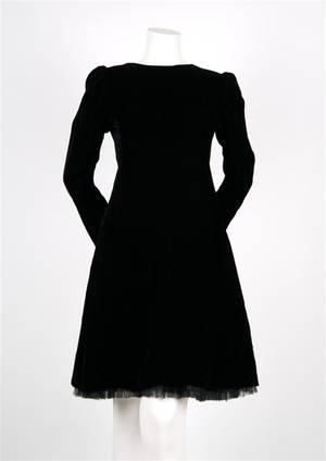 An Yves Saint Laurent Black Velvet Couture Dress