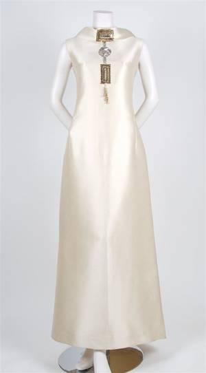 A Jeanne Lanvin Cream Silk Evening Gown