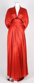 A Red Satin Evening Gown