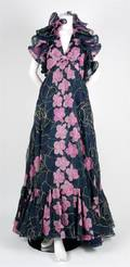 A Navy and Floral Print Evening Gown