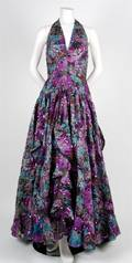 A Floral and Sequin Evening Gown