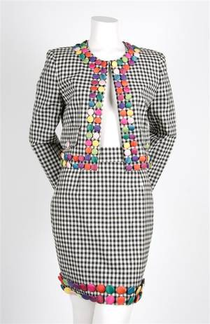 A Moschino Cheap and Chic Button Skirt Suit