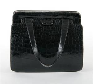 A Nettie Rosenstein Black Alligator Purse