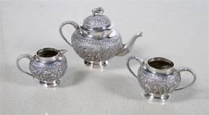 An Indian Silverplate ThreePiece Tea Set
