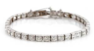 A Platinum and Diamond Line Bracelet