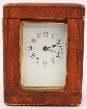 Small French Brass Carriage Clock wLeather Case
