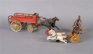 A Group of Two Iron Toy Fire Engines