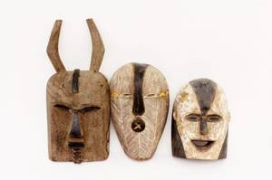 Three Carved Wood African Masks